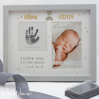 Personalised Photo & Hand Print Frame - 'I Love You to the Moon & Back' - with Ink