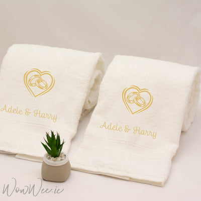 Personalised Luxurious His and Hers Cream Hand Towel Gift Set