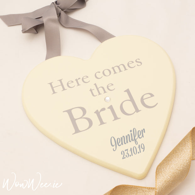 Personalised Heart Shaped Wooden Sign - Here comes the Bride