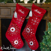 Personalised large velvet Christmas Stocking with silver snowflakes and embroidered name | WowWee.ie