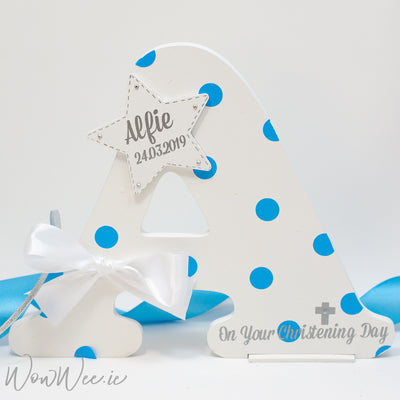 Personalised Decorative Wooden Letter - 'On Your Christening Day' - New Design for Boys!