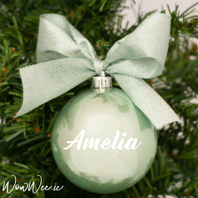 Personalised Luxury Christmas Bauble - Exquisite Eucalyptus - 12cm
