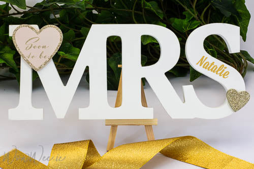 Personalised  Wooden 'Soon to Be Mrs' Standing Plaque - For Bride to Be