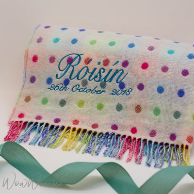 Personalised Foxford Baby Blanket - Multi Coloured Spot
