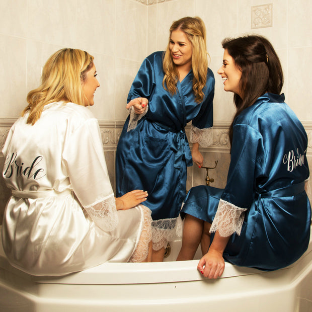 Personalised Delicate Lace & Satin Bridal Robes - Dreamy Blue Bridal Party Set of 3+