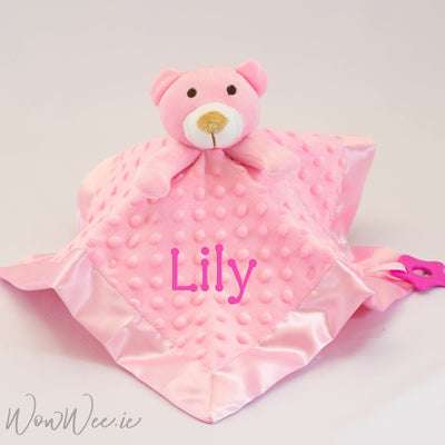 Personalised Baby Comforter - Pink Teddy