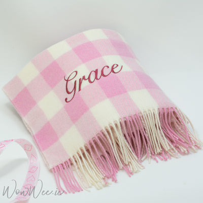 Personalised Foxford Baby Blanket - Pink & Cream Check