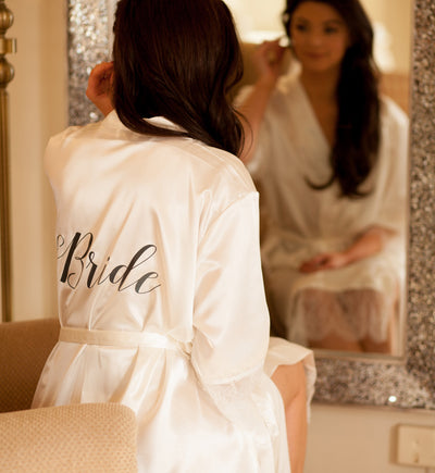 Personalised Satin & Lace Robe - Ivory