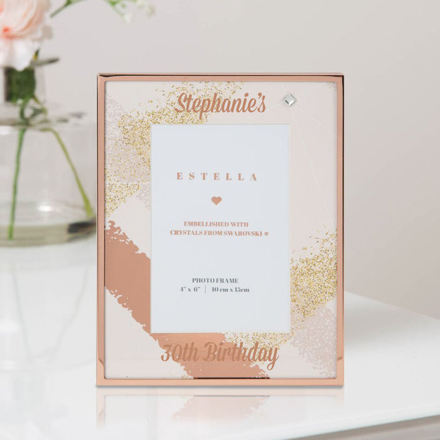 Personalised Rose Gold Birthday Photo Frame - with Swarovski Crystal - WowWee.ie Personalised Gifts