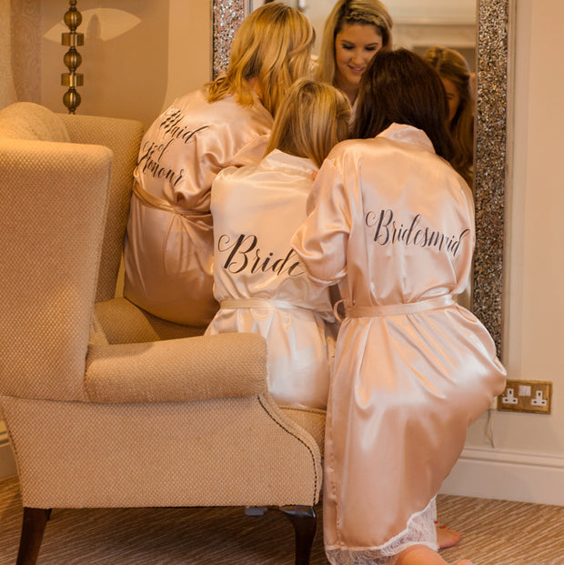 Personalised Satin Robe - Chic Champagne