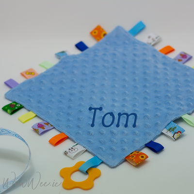 Personalised Taggie Comforter - Blue Bubble