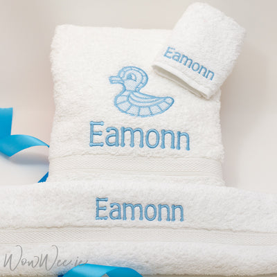 Personalised White Towel Gift Set for Boys - WowWee Splash