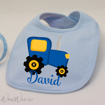 Personalised Bib for Boys - Tractor