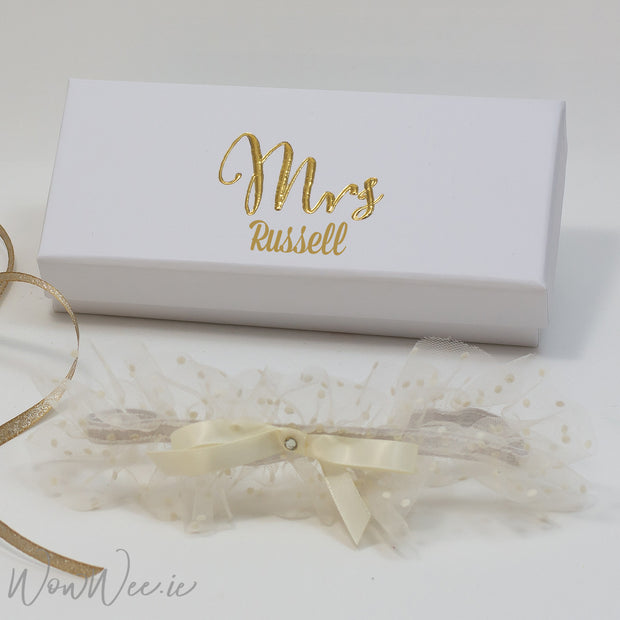 Wedding Garter - Mrs. in Personalised Presentation Box