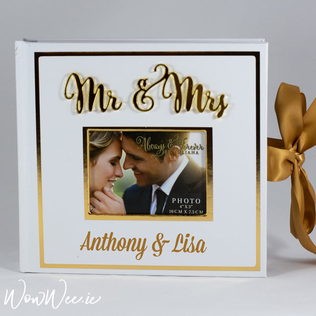 Personalised Wedding Photo Album - Mr & Mrs Gold Foil