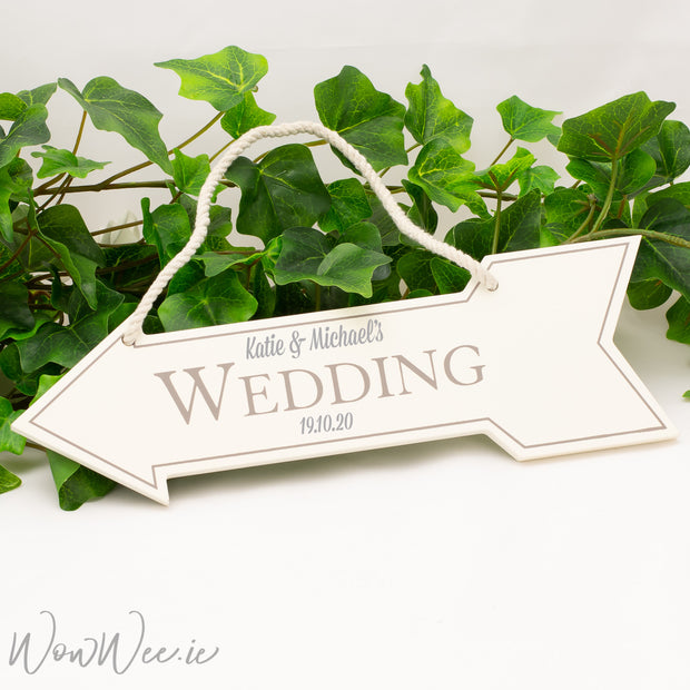 Personalised Wooden Hanging Wall Sign - Wedding Arrow