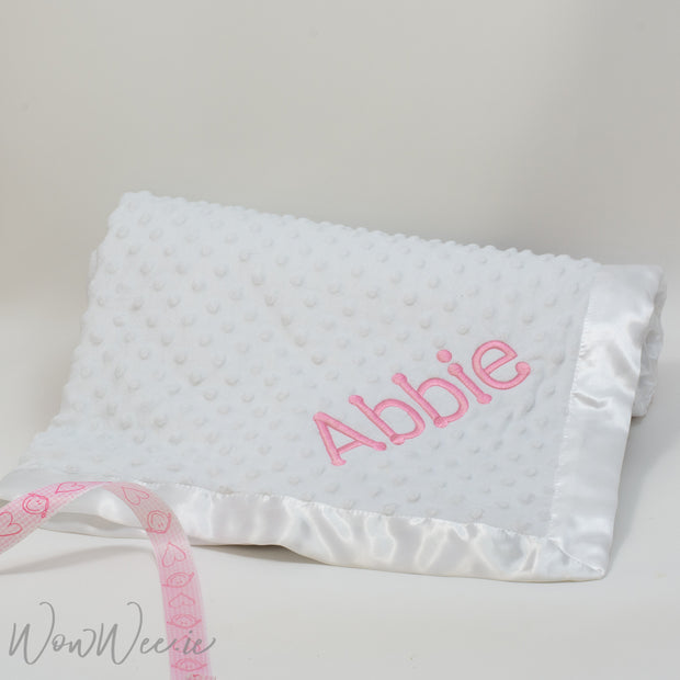 Personalised Baby Blanket for Girls - White Bubble