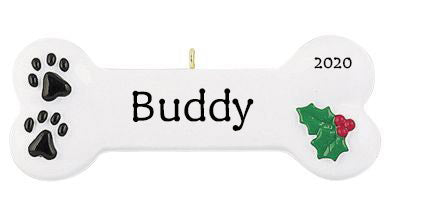 Personalised Christmas Ornament - Dog Bone - Order Now, Dispatched from October 15th