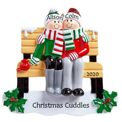 Personalised Christmas Ornament - Park Bench for 2 - Order Now, Dispatched from October 15th