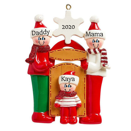 Personalised Christmas Ornament - Sledding Family of 3