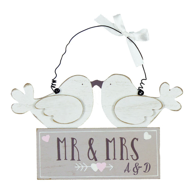 Personalised Wedding Sign - 'Mr & Mrs' Lovebirds Hanging Plaque