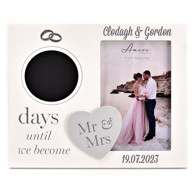 Personalised Wedding Countdown Frame with Chalk - Days until we become Mr & Mrs - WowWee.ie Personalised Gifts