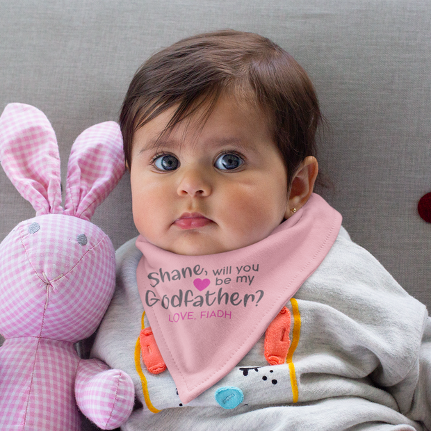 Personalised Baby Bib - Will You Be My GODFATHER? - Girl