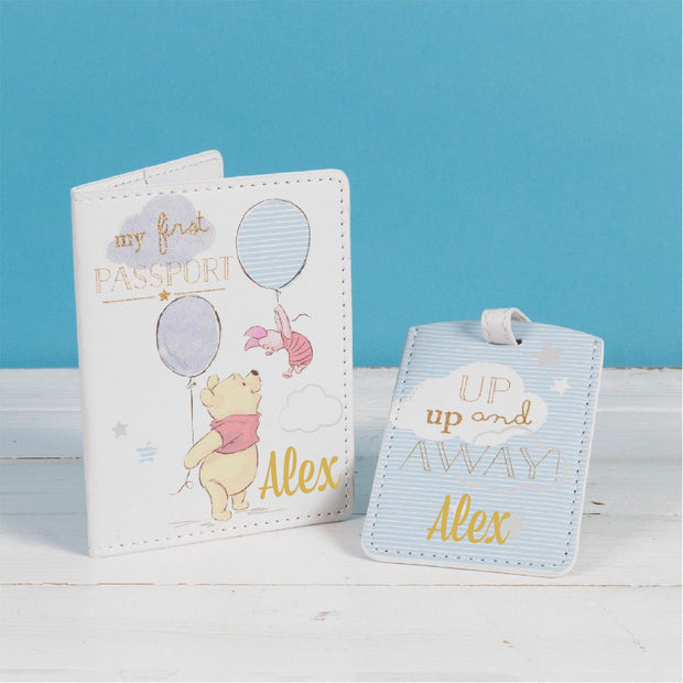 Personalised Disney Passport & Luggage Tag - Winnie the Pooh - Up, Up and Away