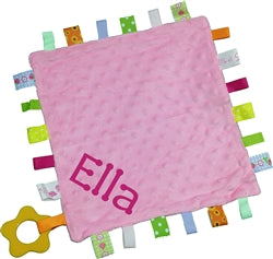 Personalised Taggie Comforter - Pink Bubble - WowWee.ie Personalised Gifts