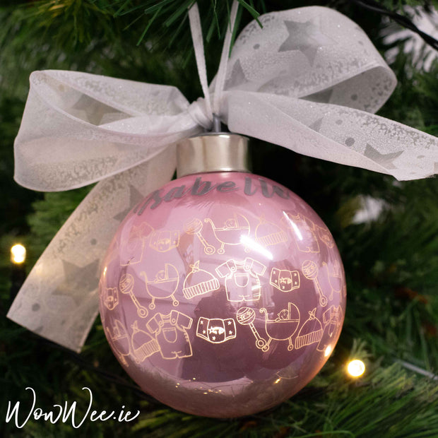 Personalised Luxury Christmas Light Up Bauble  - Baby Girl Bibs & Bobs - 12cm