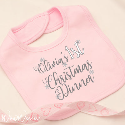 Personalised My First Christmas Bib for Girls - Christmas Dinner
