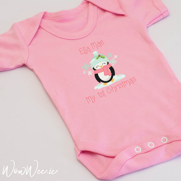 Personalised My First Christmas Baby Vest for Girls - Penguin