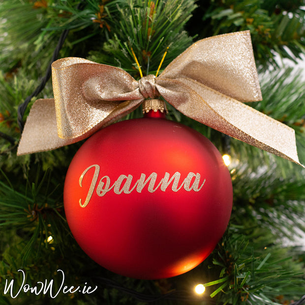 Personalised Luxury Christmas Bauble - Red Satin & Glittering Gold - 14cm