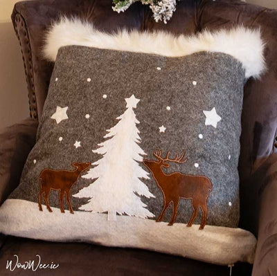 Rustic Reindeer Country Theme - Festive Cushion with LED lighting