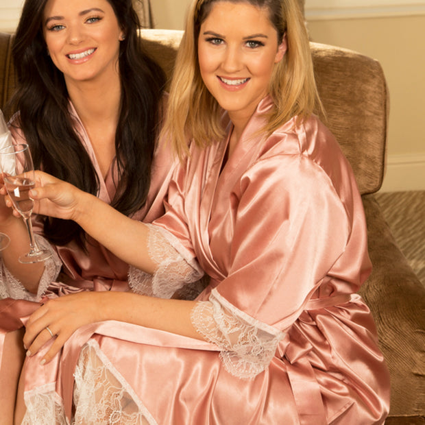 Personalised Satin & Lace Robe - Rose Gold