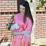 Personalised Delicate Lace & Satin Bridal Robes - Coral Island Bridal Party Set of 3+