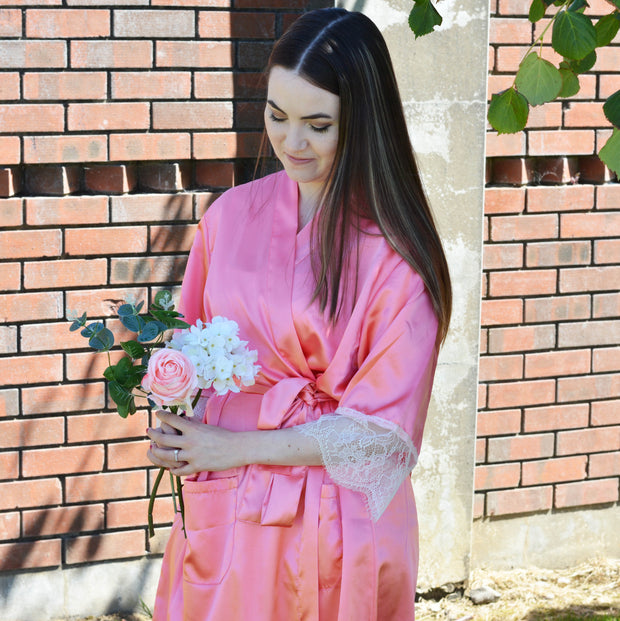 Personalised Delicate Lace & Satin Bridal Robes - Coral Island Bridal Party Set of 3+ - WowWee.ie Personalised Gifts