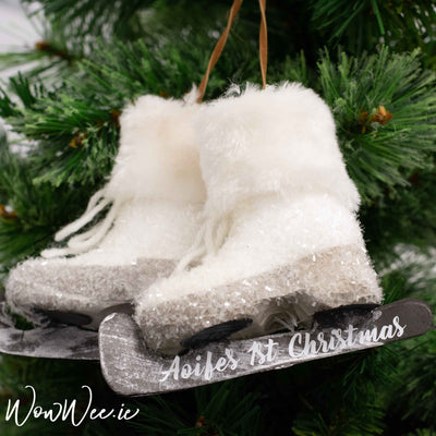 Personalised Baby's 1st Christmas Hanging Ice Skates - Glittery & Snowy - Rustic Reindeer