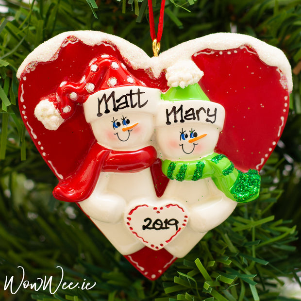 Personalised Christmas Ornament - Snow in Love | Personalised Christmas Tree Decorations for Couples | WowWee.ie