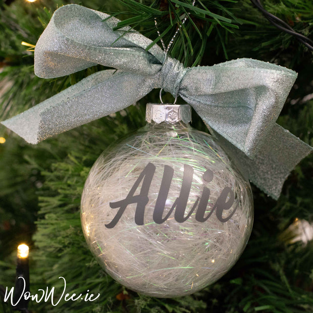 Personalised Luxury Christmas Bauble - Iridescent Mint - 10cm