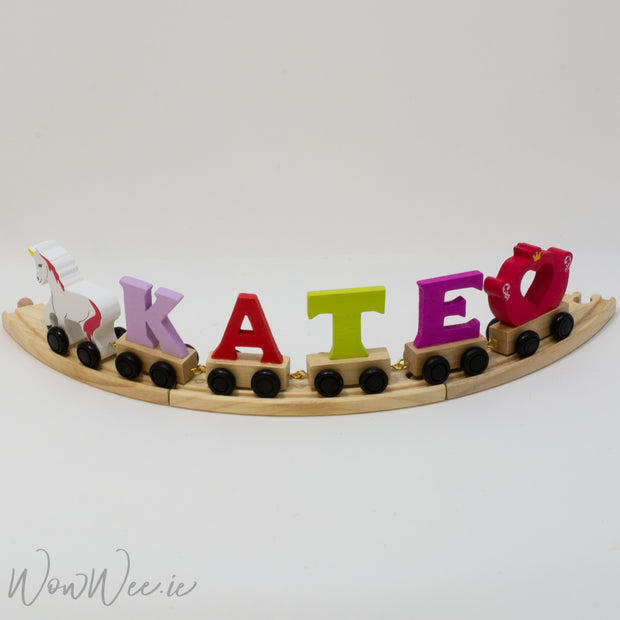 Personalised Wooden Letter Unicorn Princess Train for Girls - with Track - WowWee.ie Personalised Gifts