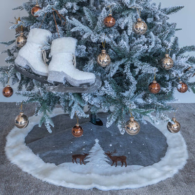 "Christmas Tree Skirt - Rustic Reindeer Country Theme with LED Lighting - 48"" wide"