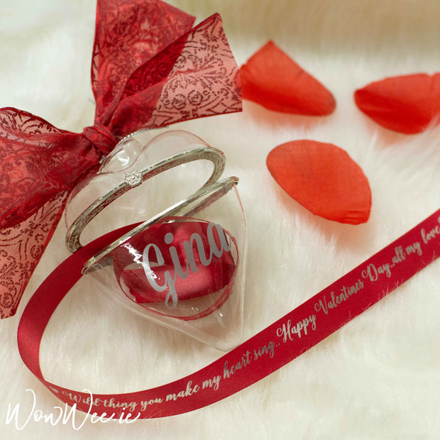 Personalised Luxury Heart Bauble with 'Secret Message' Printed Ribbon Inside!