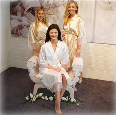 Personalised Delicate Lace & Satin Bridal Robes - Vintage Gold Bridal Party Set