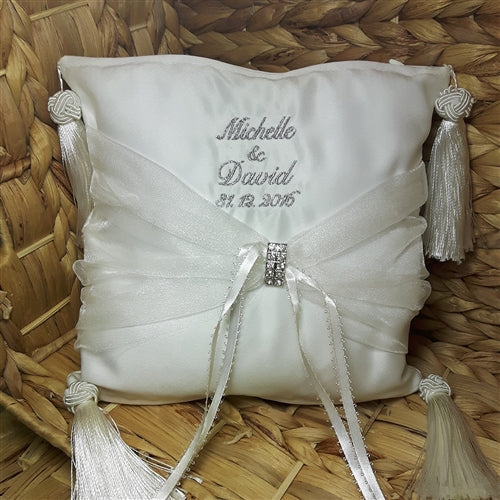 Personalised Bridal Ring Bearer Cushions - Ivory or White