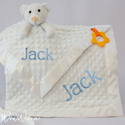 Personalised Baby Gift Set - Comfort Him White