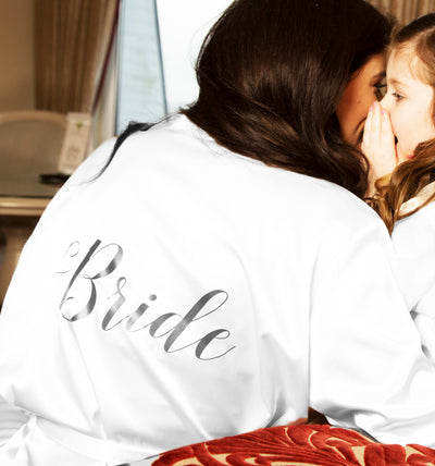 Personalised Satin & Lace Robe  - White