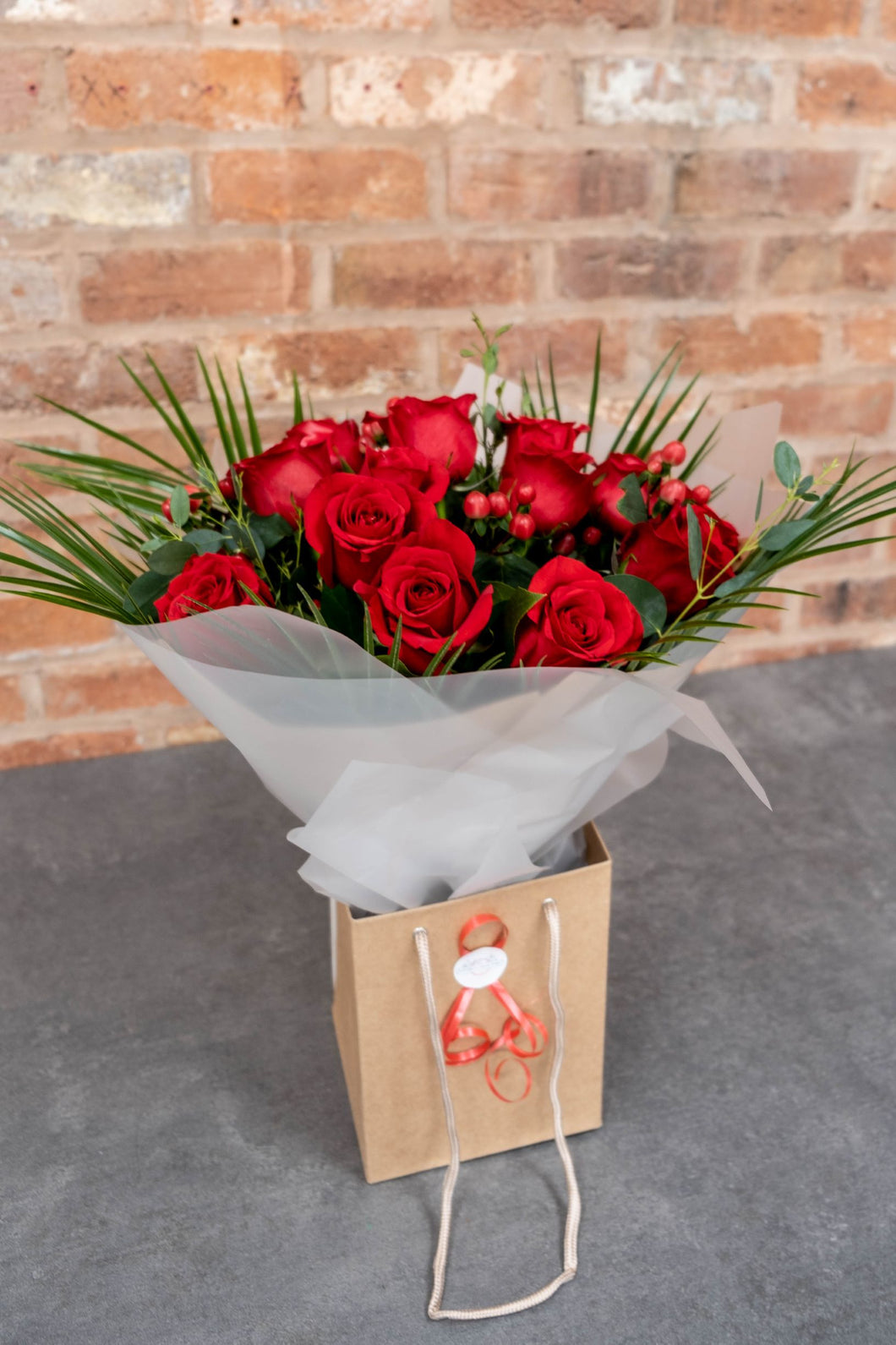 Amour 12 red rose bouquet