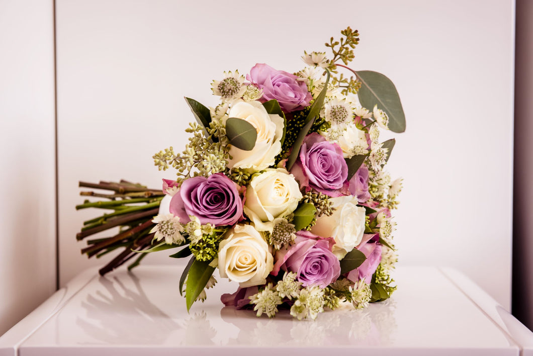 Bridal Bouquet memory lane roses, avalanche roses & eucalyptus