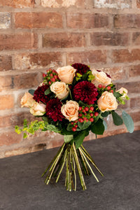 Rose, Chrysanthemum, berry bouquet